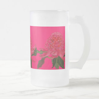Waratah Flosted Glass Frosted Glass Beer Mug