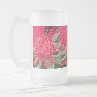 Waratah Flower Frosted Glass 16 Oz Frosted Glass Beer Mug