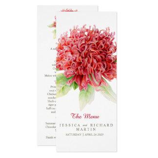 Waratah red flowers wedding menu card