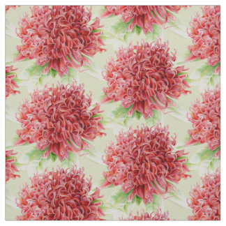Waratah  watercolor art fabric