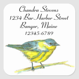 Warbler Bird Watercolor Return Address Square Sticker