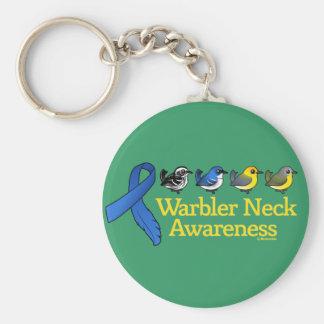Warbler Neck Awareness Ribbon Basic Round Button Keychain