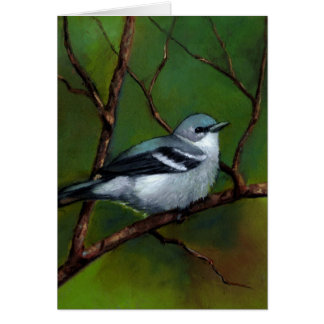 Warbler: Wildlife Art in Oil Pastel: Bird Card