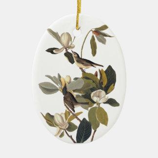 Warbling Flycatcher Kingbirds Vintage Audubon art. Ceramic Ornament