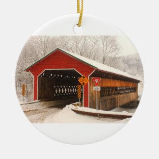 Ware Gilbertville Covered Bridge Winter Ceramic Ornament