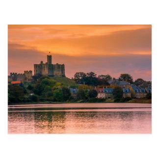 Warkworth Village and Castle at sunset Postcard