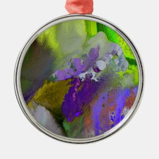 warm and cold colors splash Silver-Colored round ornament
