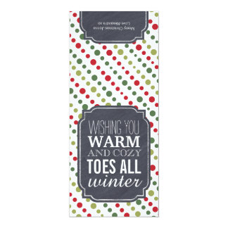 """""""Warm and Cozy Toes"""" - Gift tag for wrapping socks 4"""" X 9.25"""" Invitation Card"""