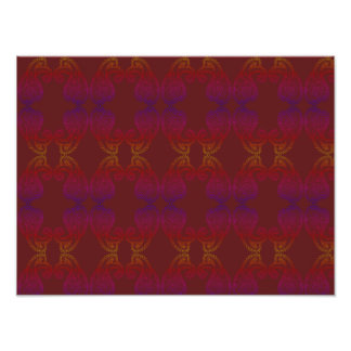 Warm and Rich Colors Paisley Pattern A3 Poster