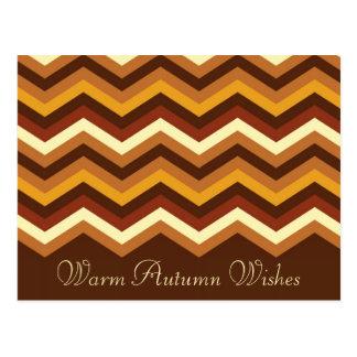 Warm Autumn Retro Chevron Personalized Postcard