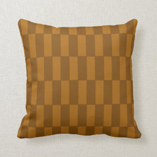 "Warm Brown ""Block Shift"" Repeating Pattern Pillow"