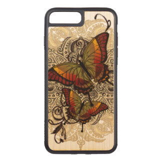 Warm Butterfly Delight on Genuine Hardwood Maple Carved iPhone 8 Plus/7 Plus Case