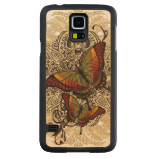 Warm Butterfly Delight on Genuine Hardwood Maple Carved Maple Galaxy S5 Case
