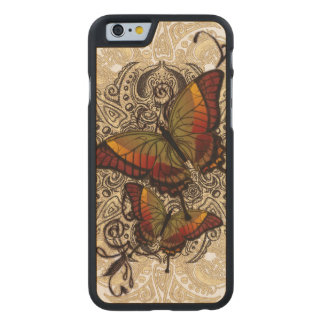 Warm Butterfly Delight on Genuine Hardwood Maple Carved Maple iPhone 6 Case