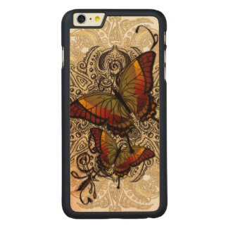 Warm Butterfly Delight on Genuine Hardwood Maple Carved Maple iPhone 6 Plus Case