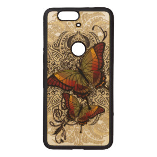 Warm Butterfly Delight on Genuine Hardwood Maple Wood Nexus 6P Case