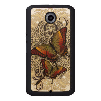 Warm Butterfly Delight on Genuine Hardwood Maple Wood Phone Case