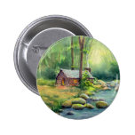 WARM CABIN in the WOODS by SHARON SHARPE 2 Inch Round Button