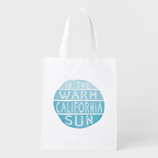 Warm California Sun Vintage Typography Blue Reusable Grocery Bag