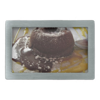 Warm chocolate fondant lava cake dessert belt buckles
