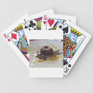 Warm chocolate fondant lava cake dessert bicycle playing cards