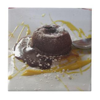 Warm chocolate fondant lava cake dessert ceramic tile