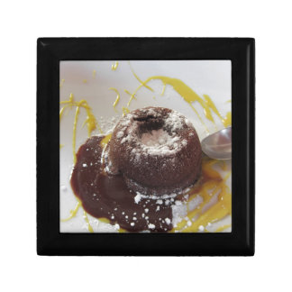 Warm chocolate fondant lava cake dessert gift box