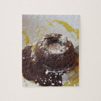 Warm chocolate fondant lava cake dessert jigsaw puzzle