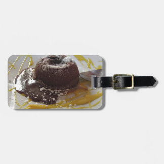 Warm chocolate fondant lava cake dessert luggage tag