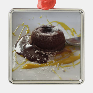 Warm chocolate fondant lava cake dessert metal ornament