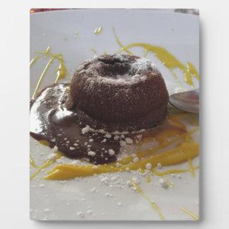 Warm chocolate fondant lava cake dessert plaque