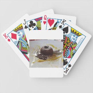 Warm chocolate fondant lava cake dessert poker deck