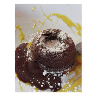 Warm chocolate fondant lava cake dessert postcard