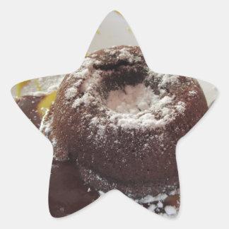 Warm chocolate fondant lava cake dessert star sticker