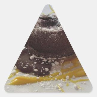 Warm chocolate fondant lava cake dessert triangle sticker