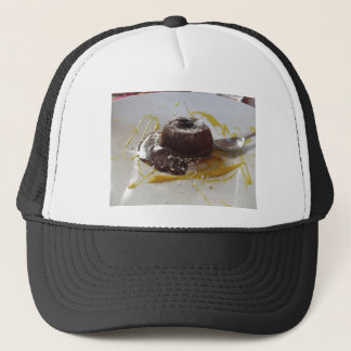 Warm chocolate fondant lava cake dessert trucker hat