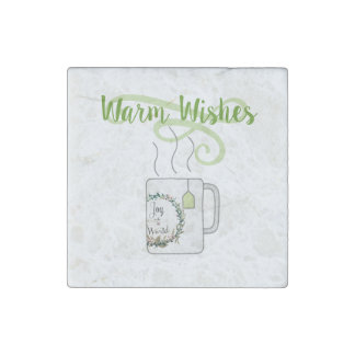 Warm Christmas Wishes, Green Tea Style Stone Magnets