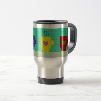 Warm Coffee Colorful Bright Happy Mugs Hearts Cute