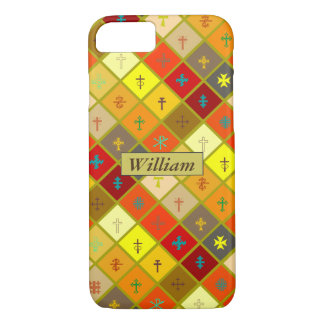 Warm Colored Plaid with mixed Crosses iPhone 8/7 Case