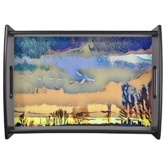 Warm Colorful Abstract Landscape Horizon Serving Tray