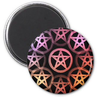 Warm colors pentacles 2 inch round magnet