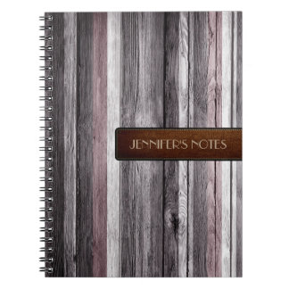 Warm Colors Wood Elegant Leather Look #12 Notebooks