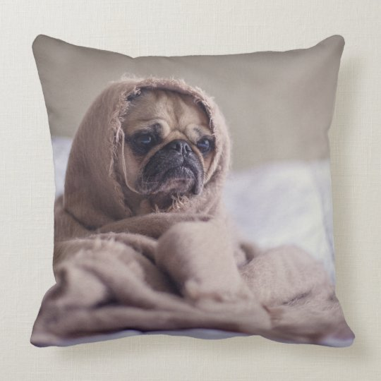 Warm & Cozy Pug in A Blanket Cute Pug Throw Pillow