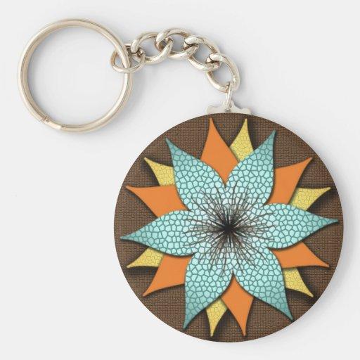 Warm Earth Tone Floral  Keychain Key Chain