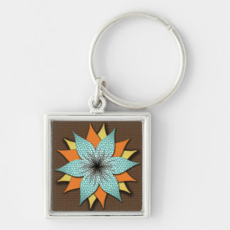 Warm Earth Tone Floral Square Keychain