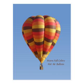 Warm Fall Colors Hot Air Balloon Postcard