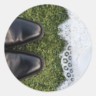 Warm Feet Wedding Seal Round Sticker
