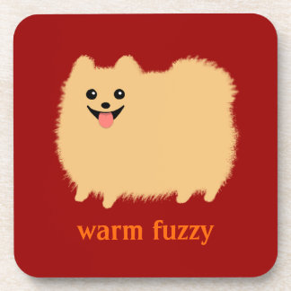 """Warm Fuzzy"" Cute Pomeranian with Custom Text Coaster"