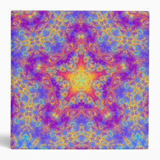 Warm Glow Star Bright Color Swirl Kaleidoscope Art Vinyl Binder