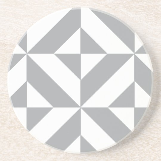 Warm Grey Geometric Deco Cube Pattern Coaster